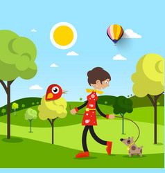 woman with dog in park natural scene with animals vector image
