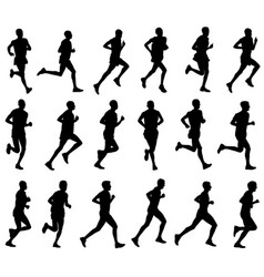 18 marathon runners silhouettes vector image