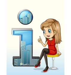 A girl wearing a red dress sitting beside a number vector image