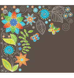 floral background with butterf vector image