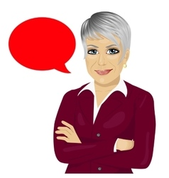 senior businesswoman with arms folded vector image vector image