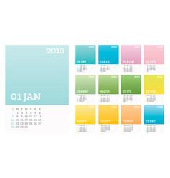 12 months calendar 2018 pastel olor in vector image