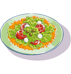 A mixed salad with lettuce tomatoes olives and vector