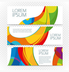 Abstract colorful banners set on transparent vector