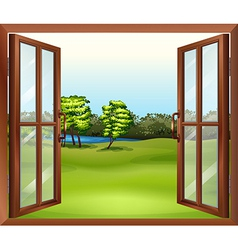An open wooden window vector