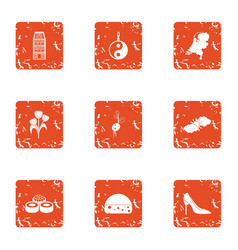 Asian urban icons set grunge style vector