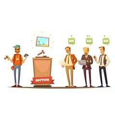 Auction Participants Retro Cartoon Persons Set vector