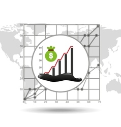 bag money graph oil industry growth diagram vector image