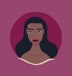 Beautiful young woman face portrait profile vector