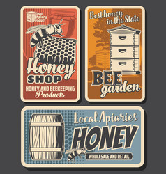 beekeeping apiary posters retro honey honeycomb vector image