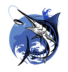Blue marlin fishing design vector