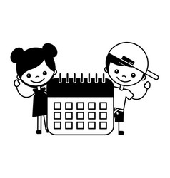 boy and girl with calendar school vector image