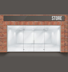 Brick store front with big window vector