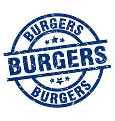 Burgers blue round grunge stamp vector