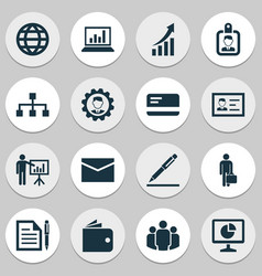 business icons set collection of work man earth vector image