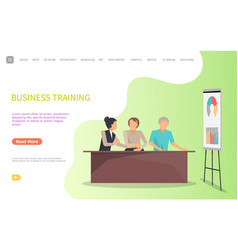 business training of workers whiteboard and charts vector image