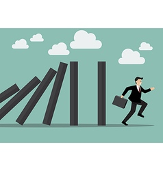Businessman run away domino effect vector