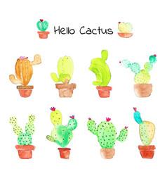 Cactus succulent plants watercolor set vector