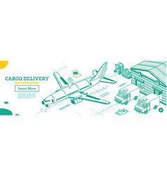 cargo delivery airplane outline isometric vector image