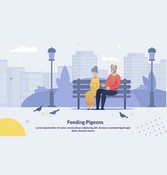 cartoon old senior couple feeding pigeons poster vector image
