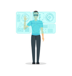 Cartoon virtual reality man with futuristic vector