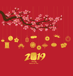 chinese new year 2019 with lantern year of the pig vector image