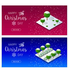 christmas trees forest vector image