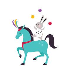 Circus hare animal balancing and juggling with vector