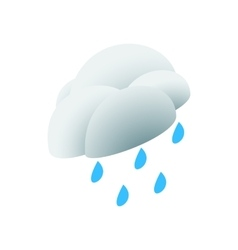 Cloud with rain drop icon isometric 3d style vector image