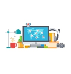 Connecting People and Objects on Table Concept vector image