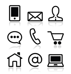 Contact web icons set vector