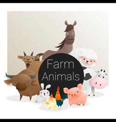 Cute animal family background with farm animals 3 vector image