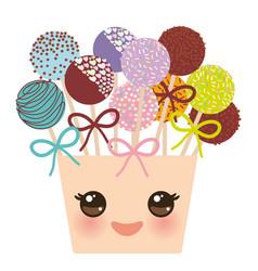 Cute funny kawaii colorful sweet cake pops se vector