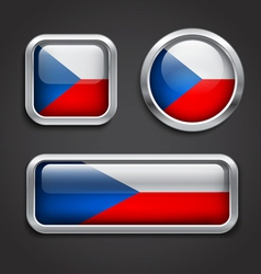 Czech Republic flag glass buttons vector image