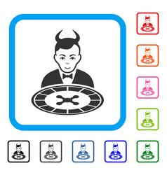 Devil roulette dealer framed enjoy icon vector