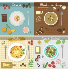 Different dishes set vector