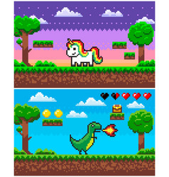 dinosaur unicorn pixel game pixelated graphics vector image