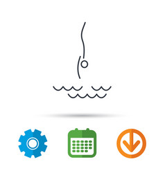 Diving icon jumping into water sign vector