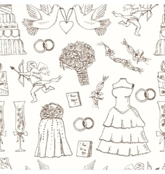 doodle wedding seamless pattern for invitation vector image