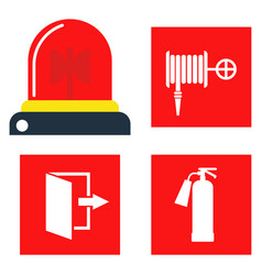 Fire safety equipment emergency tools firefighter vector