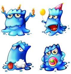 Four blue monsters vector