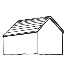 Gable roof structural system vintage engraving vector