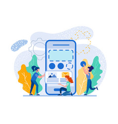 giant smartphone and tiny people working around vector image