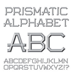 Gray faceted letters prismatic retro font vector