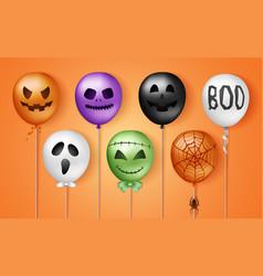 Halloween 3d balloons scary air balloons vector