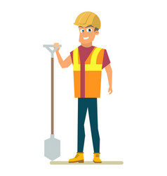 happy builder with shovel in hand flat vector image