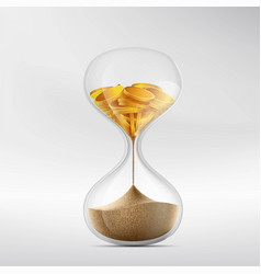 hourglass with sand and gold coins vector image