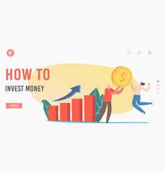how to invest money landing page template tiny vector image