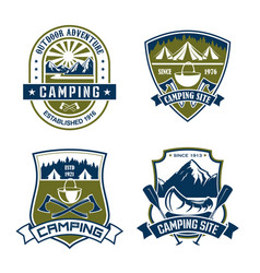 icons for camping site mountain adventure vector image