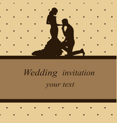 Invitation card with newlyweds in vintage style vector